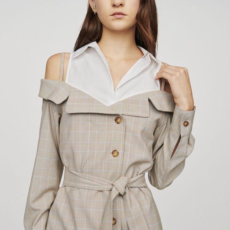 Robe courte trompe l'oeil ceinturée : Robes couleur CARREAUX