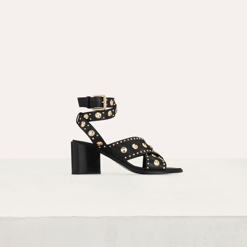Sandales à talon en cuir et studs : Escarpins couleur BLACK
