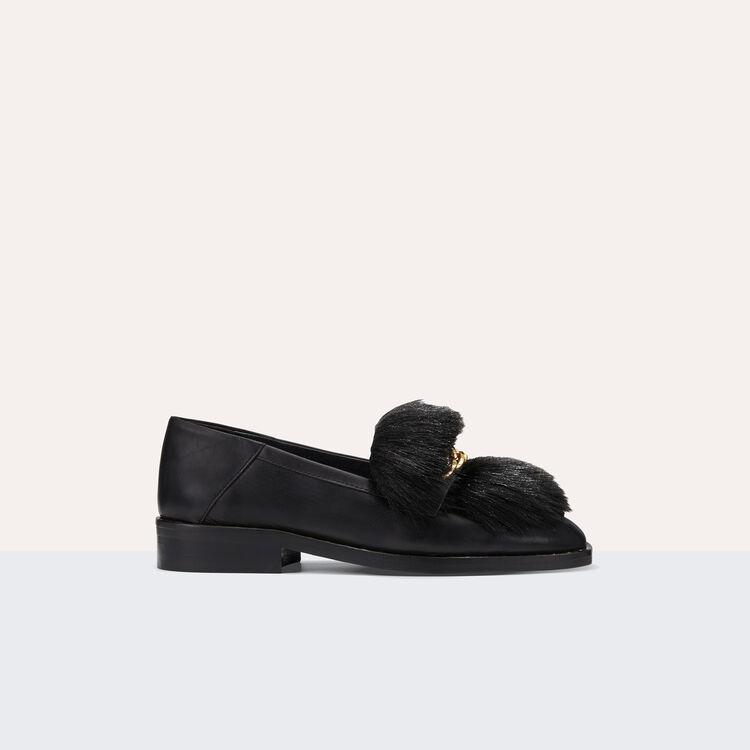 Mocassins en cuir avec fourrure amovible : Chaussures couleur Black