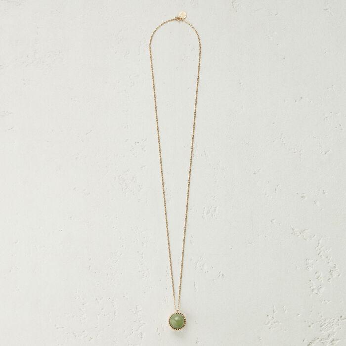 Collier long avec pendentif en pierre : Bijoux couleur Vert D'Eau