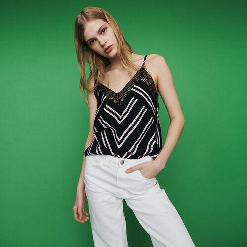 Caraco à rayures avec dentelle : Tops & Chemises couleur Rayure
