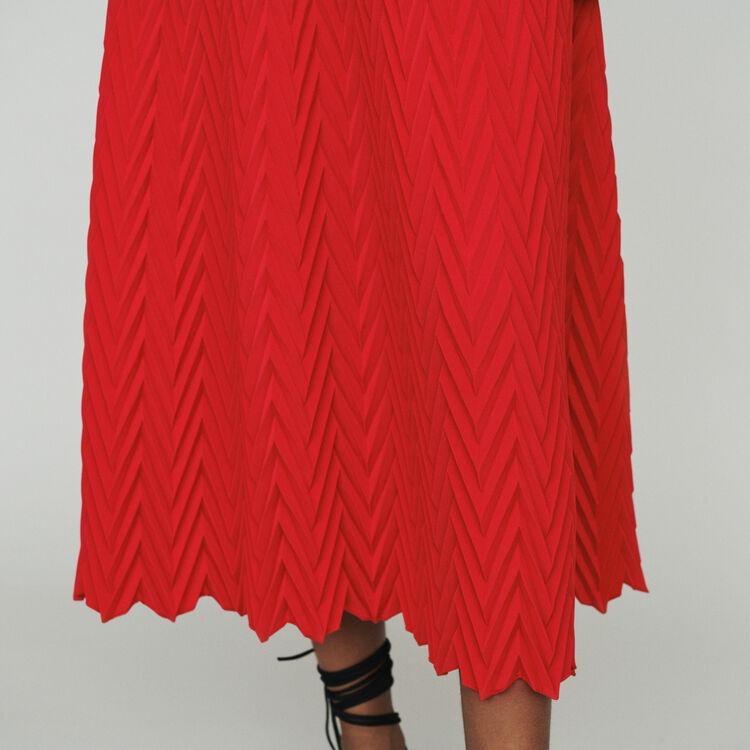 Jupe longue à plissé chevron : Jupes & Shorts couleur Rouge