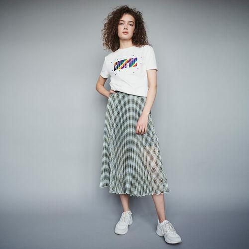 Jupe plissée en organza à carreaux : Jupes & Shorts couleur MULTICO