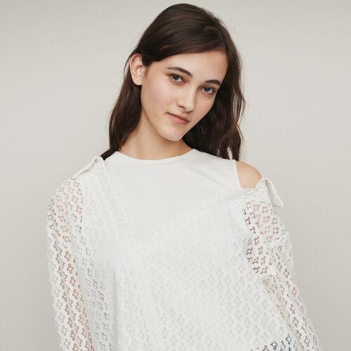 Chemise trompe-l'œil guipure géométrique : Tops & Chemises couleur BLANC