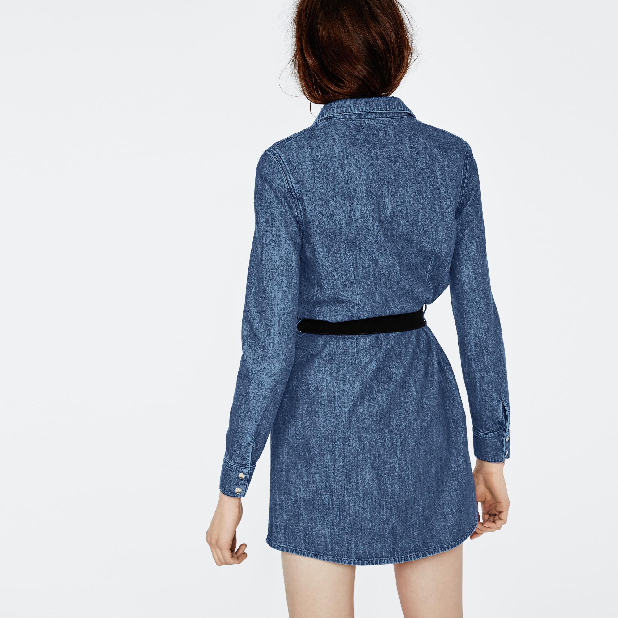Robe chemise en jean brut