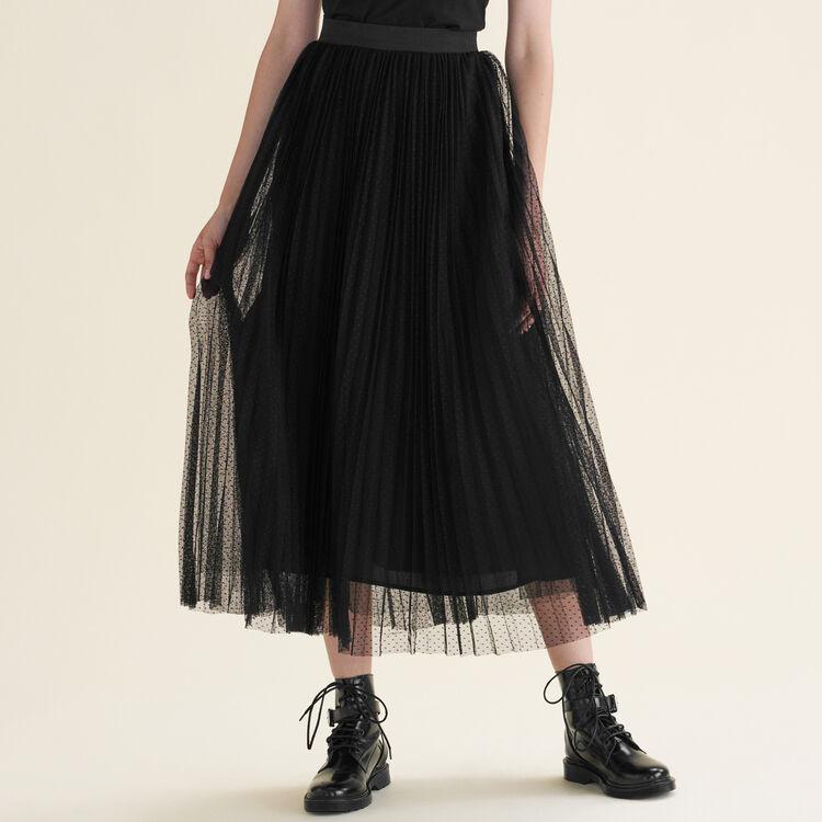 Jupe longue plissée en plumetis : Jupes & Shorts couleur Black