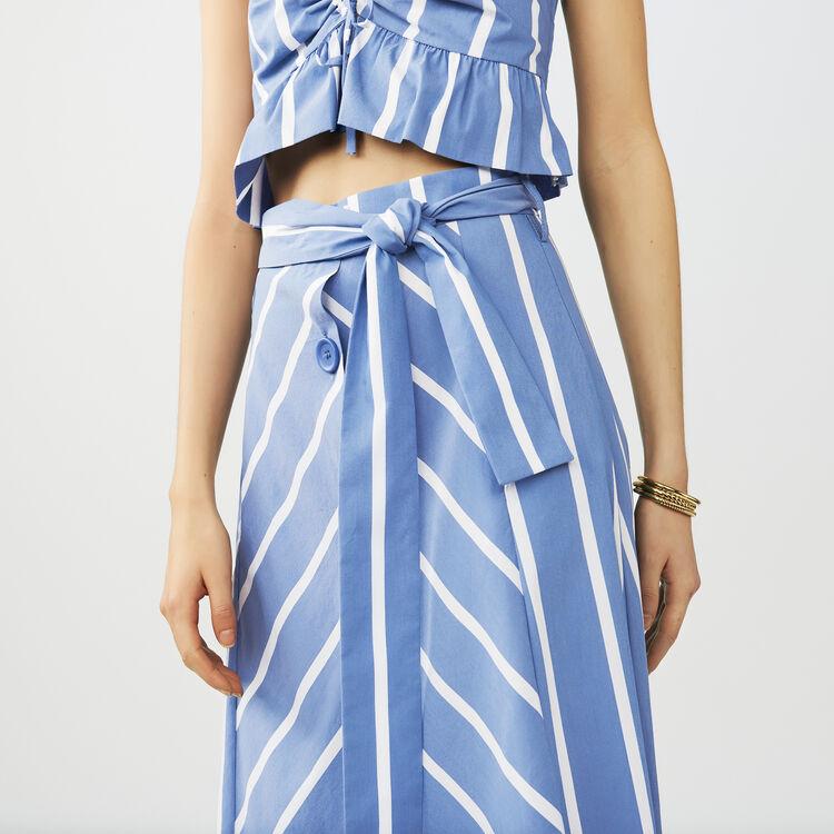Jupe midi ceinturée : Jupes & Shorts couleur Bleu