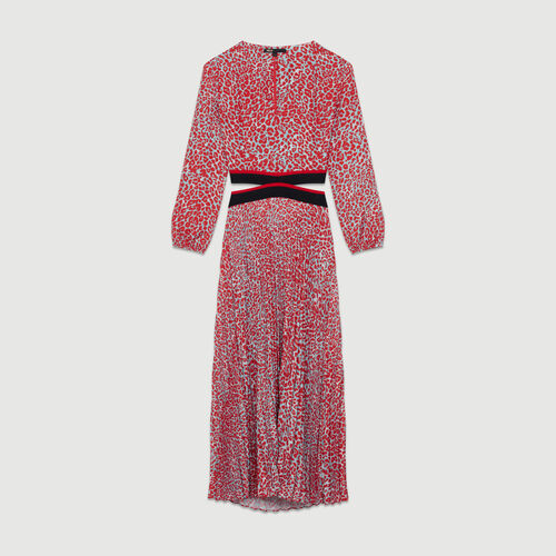 Robe longue plissée à imprimé : Robes couleur IMPRIME