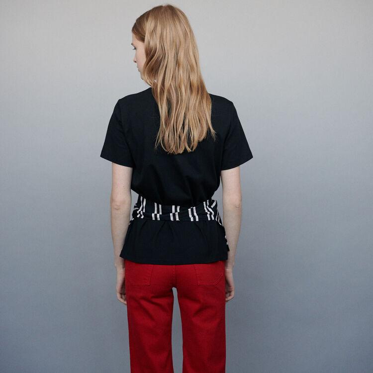 Top avec empiècement bimatière : T-Shirts couleur Black