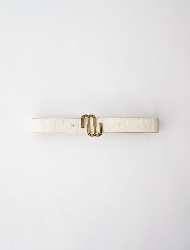 마쥬 벨트 MAJE Ceinture double M en cuir croco,Ecru