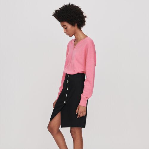 Jupe droite à boutons : Jupes & Shorts couleur Noir