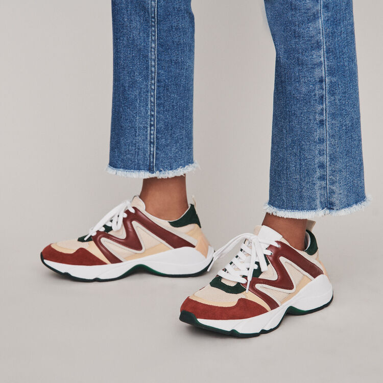 Sneakers W22 en mix matières : Sneakers couleur VERT
