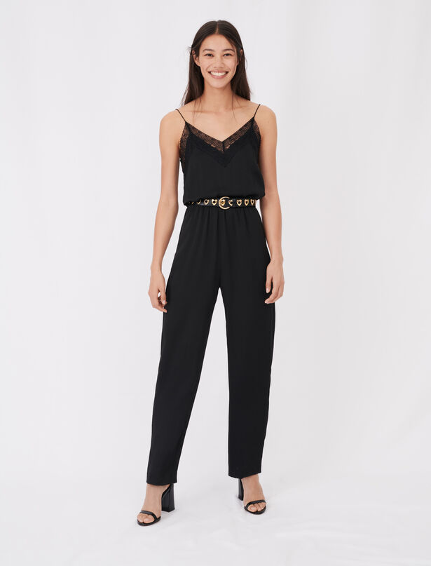 마쥬 MAJE Combinaison-pantalon en satin,Noir
