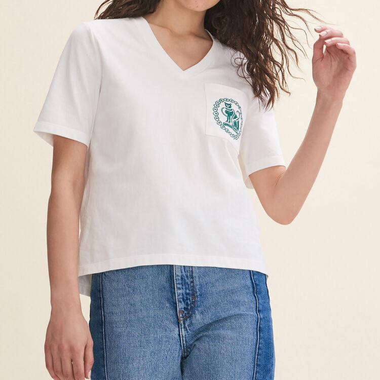 Tee-shirt en coton avec broderie - T-Shirts - MAJE
