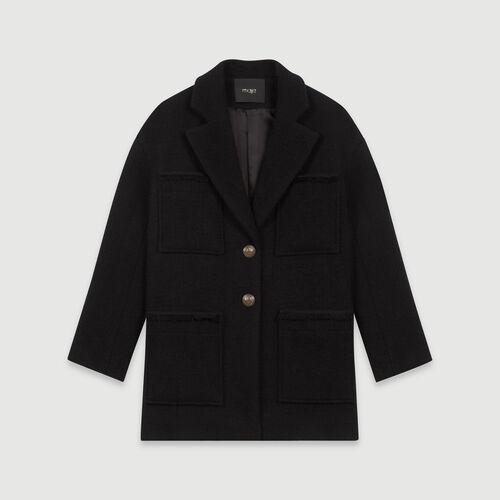 Manteau façon tweed : Manteaux & Blousons couleur Noir