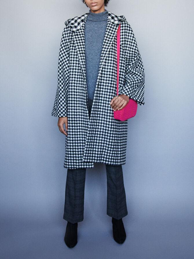 Manteau en drap de laine à carreaux -  - MAJE