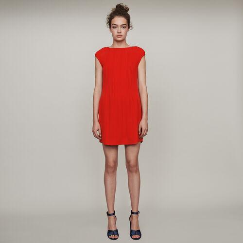 Robe plissée sans manches : Robes couleur Rouge