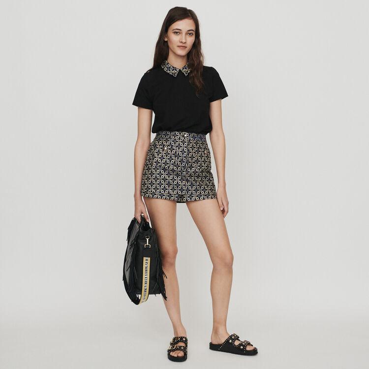 Tee-shirt à col contrasté et bijoux : T-Shirts couleur Black