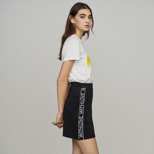 Jupe courte et bandes à message : Jupes & Shorts couleur Black
