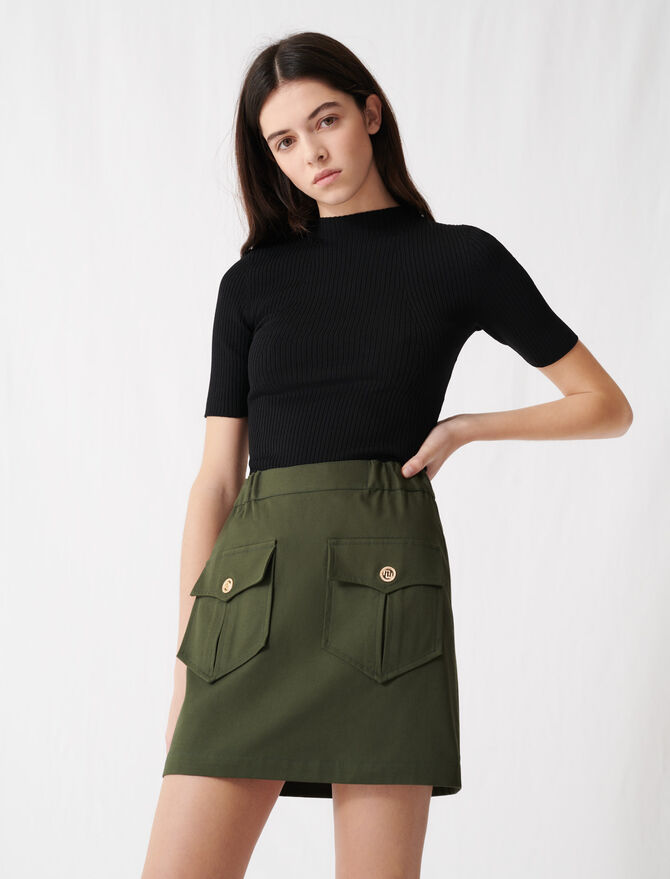 Jupe kaki en coton avec poches -  - MAJE