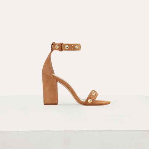Sandales en suède à talon : Escarpins couleur CAMEL