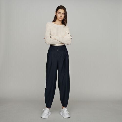 Pantalon jambes larges resserré en bas : Pantalons couleur Marine