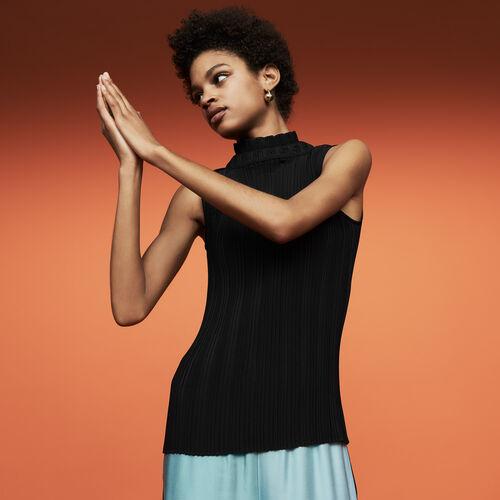 Top plissé sans manches : Tops couleur Black
