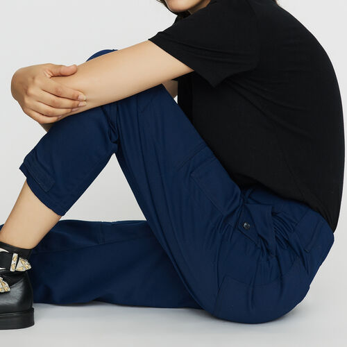 Pantalon large type Worker : Pantalons couleur Bleu