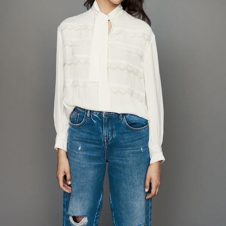 Chemisier avec volants brodés : Chemises couleur Blanc