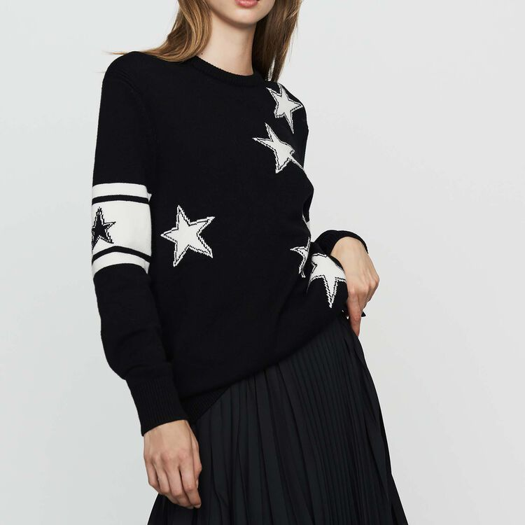 Pull oversize en maille bicolore : Maille couleur Black