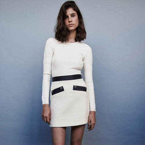 Jupe droite façon tweed contrastée : Jupes & Shorts couleur ECRU