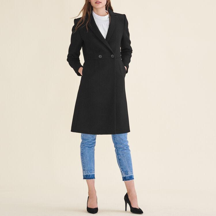 Redingote mi-longue en laine : Manteaux couleur Black