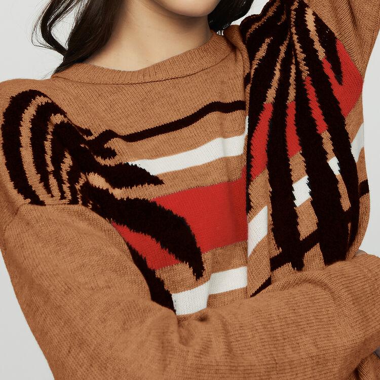 Pull manches longues en jacquard : Maille couleur Camel
