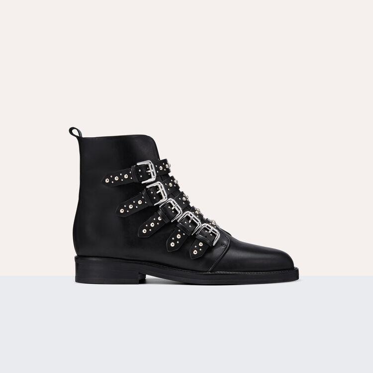 Bottines en cuir avec studs - Chaussures - MAJE