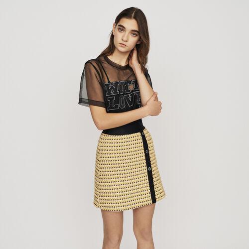 Jupe courte en tweed et lurex : Jupes & Shorts couleur Jaune