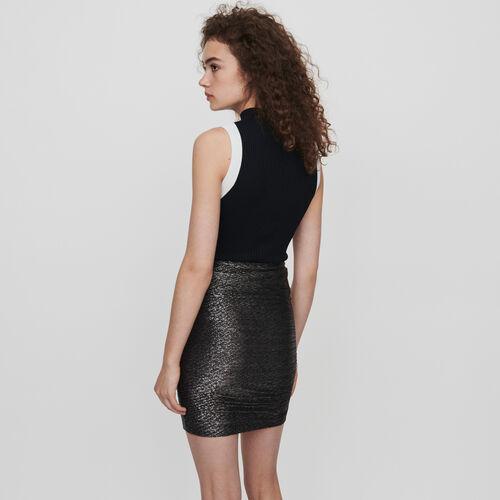 Jupe drapée à volants en Lurex : Jupes & Shorts couleur Argent