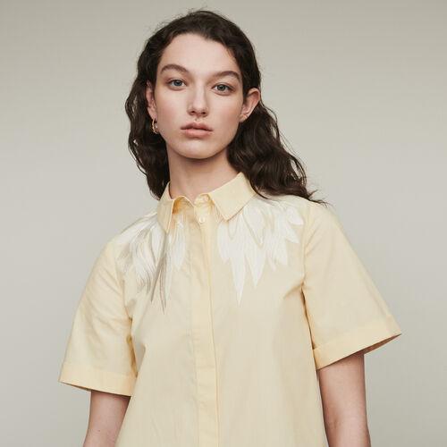 Chemise à manches courtes avec broderie : Chemises couleur Jaune