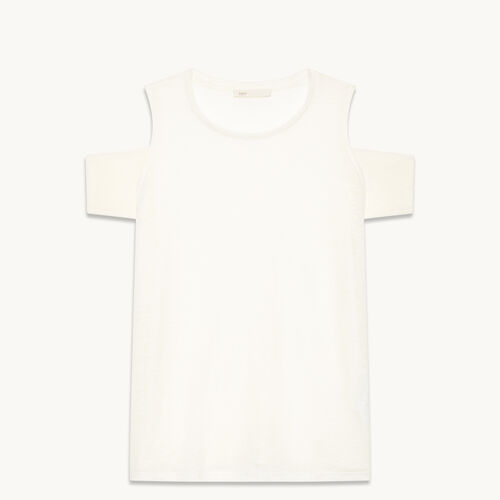 Tee-shirt en lin avec épaules dénudées - null - MAJE