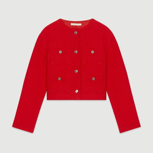 Veste courte façon tweed : Vestes couleur ROUGE