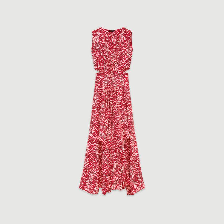 Robe longue nouée en jacquard imprimé : Robes couleur Rouge