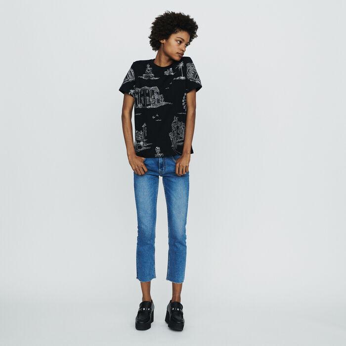 Tee-shirt à broderies Paris all-over : T-Shirts couleur BLACK