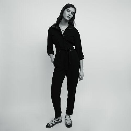 Combi-pantalon en crêpe : Pantalons & Jeans couleur Black