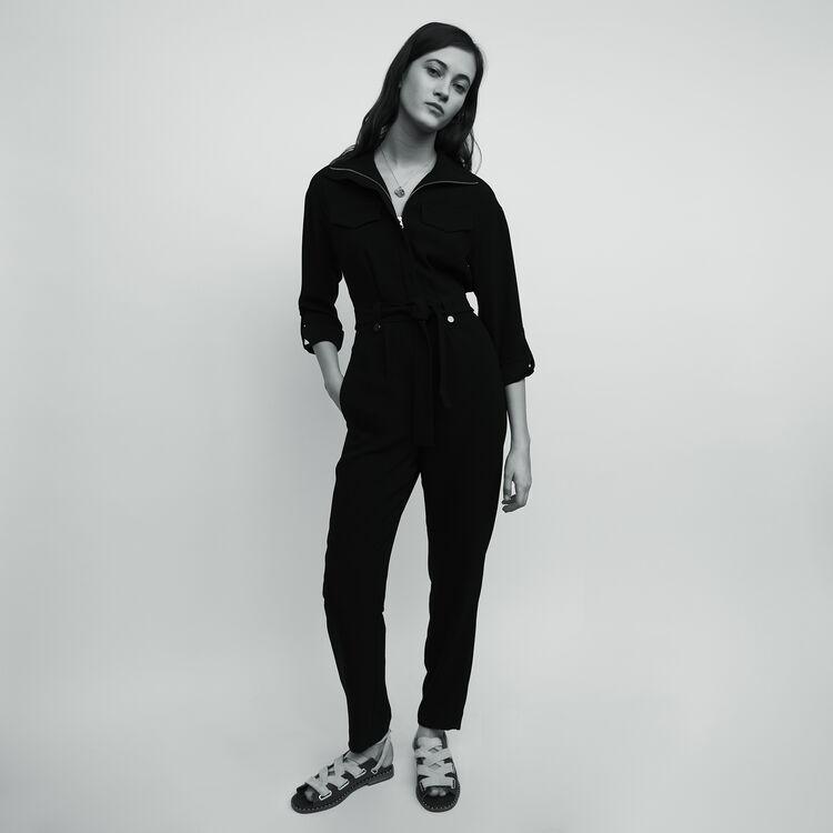 Combi-pantalon en crêpe : Pantalons couleur Black