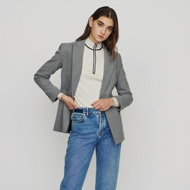 Blazer long en laine mélangée : Vestes couleur Gris