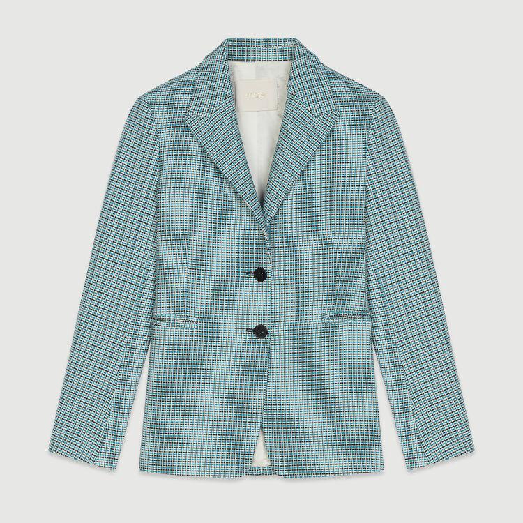 Veste de tailleur en natté façon tweed : Vestes couleur Bleu