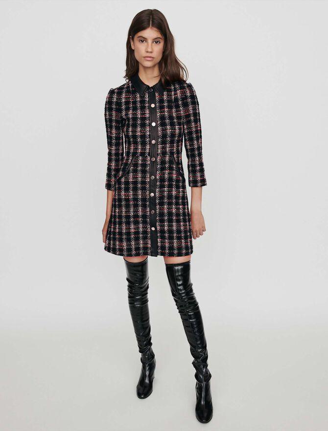 Robe contrastée façon tweed - Robes - MAJE