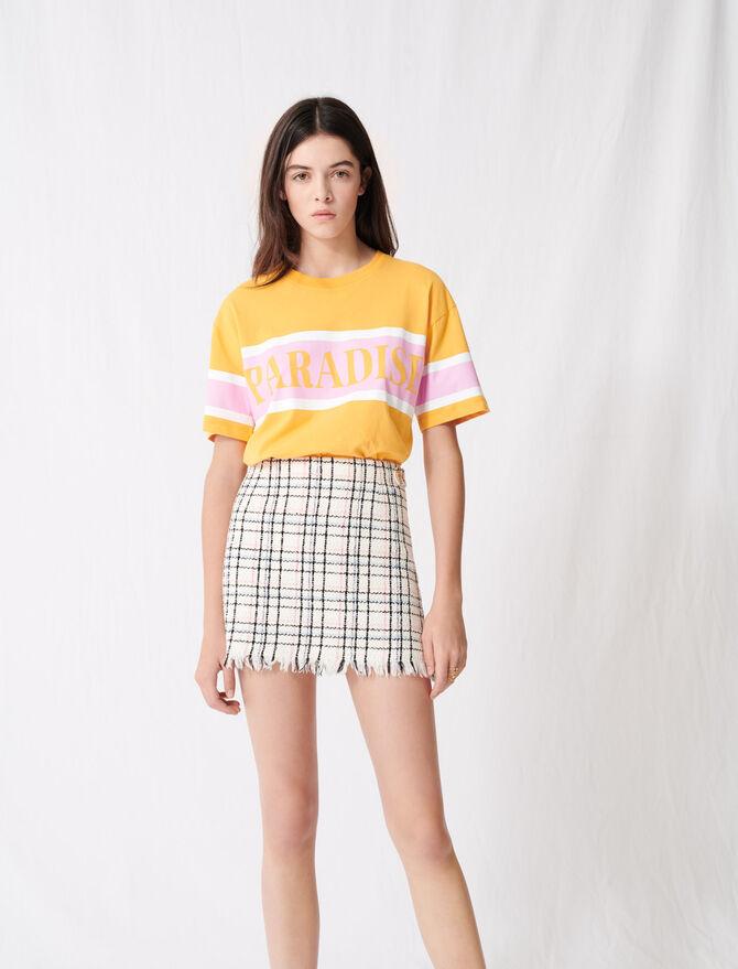 Jupe courte façon tweed à franges - Jupes & Shorts - MAJE