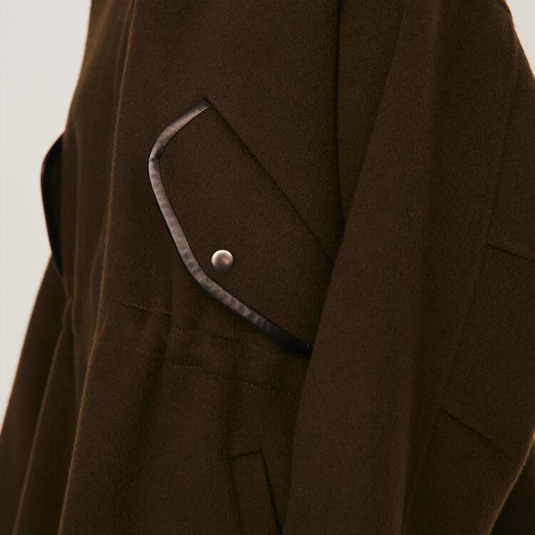 Manteau façon cape en double face : Manteaux & Blousons couleur Kaki