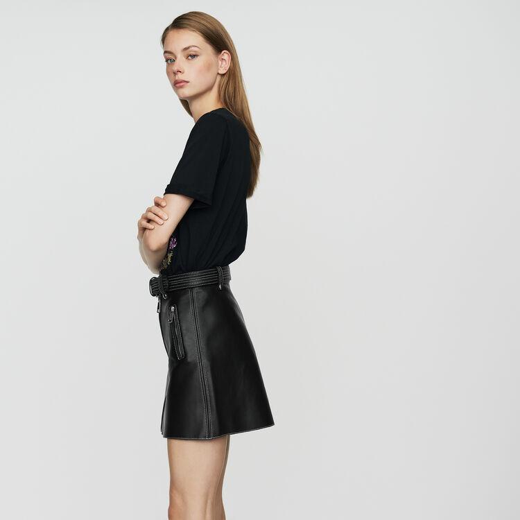 Jupe trapèze en cuir : Jupes & Shorts couleur Black