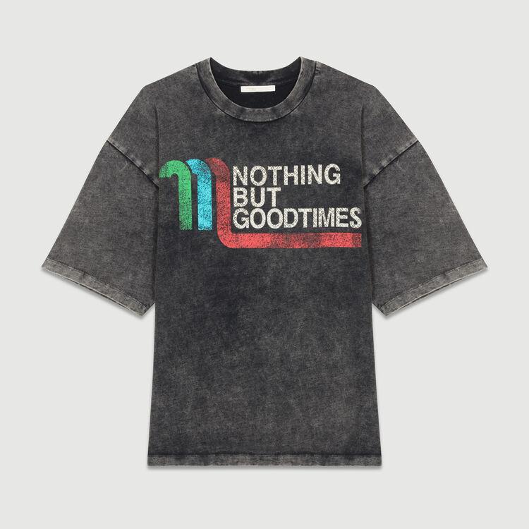Tee-shirt large avec inscription : T-Shirts couleur GRIS